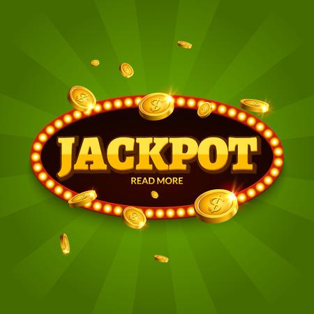 Jackpot gambling retro banner decoration.