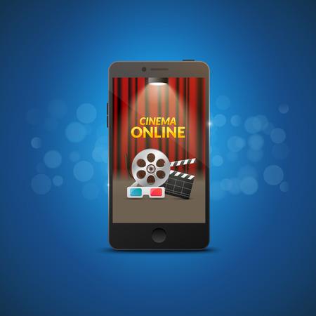 Cinema movie mobile theater design. Vector online film illustration. Online booking ticket app. Smartphone with cinema curtains.