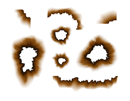Burnt paper hole. Scorched paper holes vector illustration transparent. Burnt edges grunge texture.