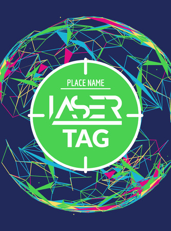 Laser tag target game poster flyer. Vector laser tag banner for fun party. Aim shot poster. Stock Illustratie