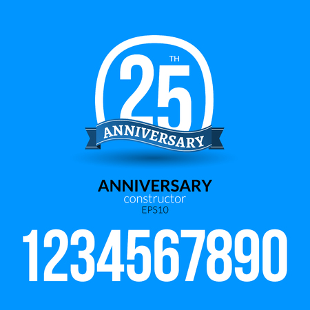 Anniversary badge label ribbon sign design. Anniversary constructor with numbers. Congratulation symbol. Vector illustration. 向量圖像