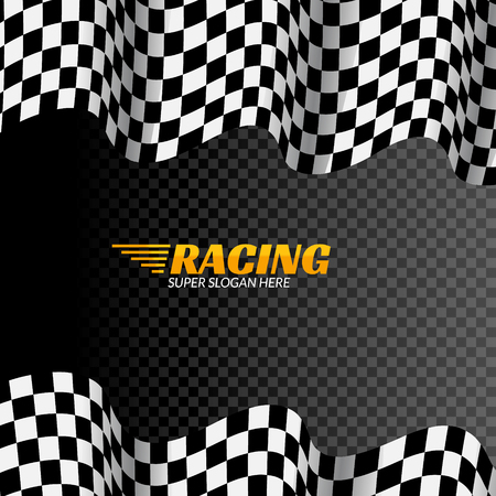 Racing background with race flag, vector sport design banner or poster isolated flag.