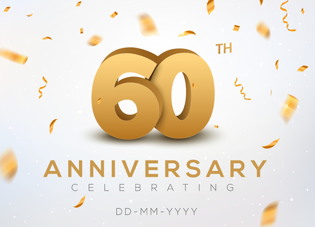 60 Anniversary gold numbers with golden confetti. Celebration 60th anniversary event party template.