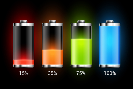Batterieladungsdesign. Volle Ladungsenergie für Mobiltelefon. Akkumulatoranzeigevektorsymbol der Leistungsstufe.