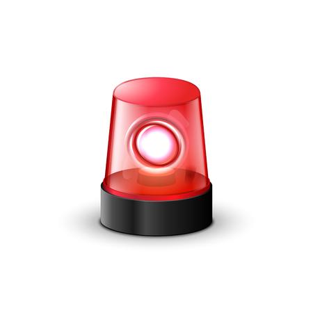 Red flashing police beacon alarm. Illustration