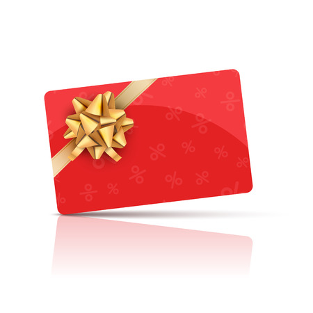 Red Gift card with gold bow and ribbon. Coupon gift card celebration design. Holiday vector card. Illustration