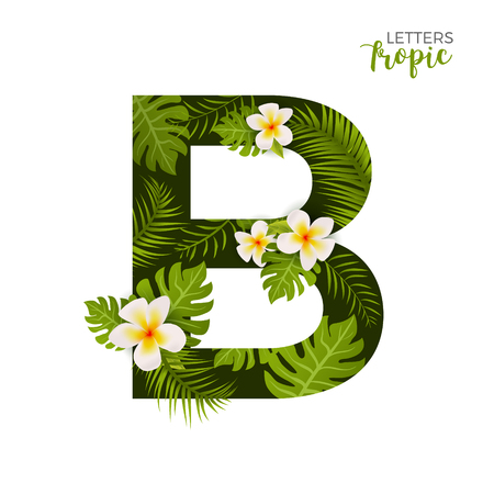 Exotic Tropical Alphabet letter B. Floral font letter with palm. Summer text typography creative design B.
