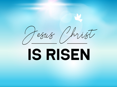 Easter Typography banner He is Risen sky and sun. Jesus Christ our God is risen. Christian sunday resuraction for church.