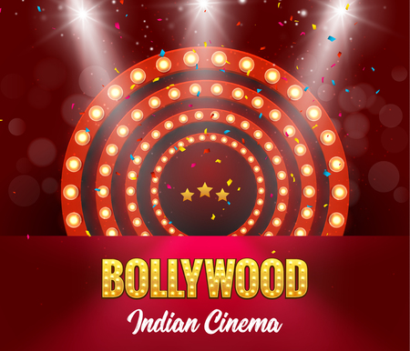 Bollywood Indian Cinema Film Banner. Indian Cinema Logo Sign Design Glowing Element with Stage. Imagens - 101115390