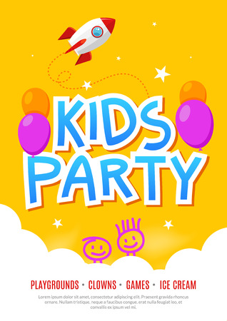 Kids fun party celebration design template. Child event banner decoration. Birthday invitation poster background.