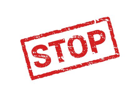 Grunge red stop stamp sign. Rubber retro label sticker STOP. Seal symbol. Illustration