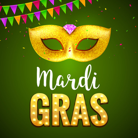 Festive mardi gras background greeting card. Carnival holiday celebration with mask decoration. Vettoriali