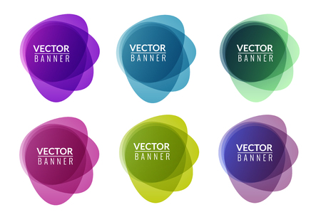 Set of colorful round abstract banners overlay shape. Graphic banners design. Label graphic fun tag concept.