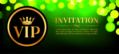 VIP invitation card with gold and bokeh glowing background. Premium luxury elegant design.