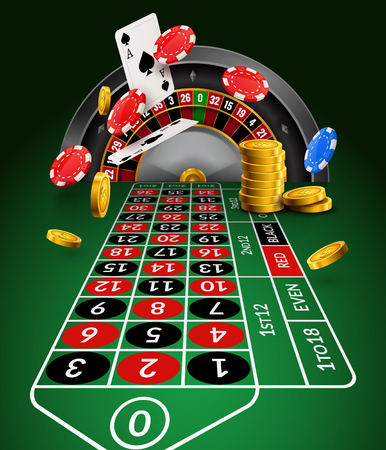 Casino roulette table perspective illustration. Green gambling roulette table with numbers play cards coins and chips.