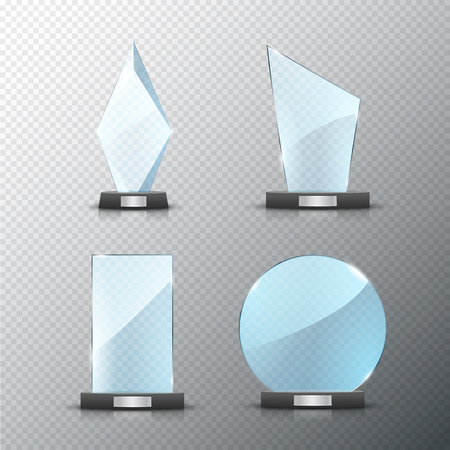 Glass trophy award set isolated. Vector blank award on bright background. Crystal glossy design winner.