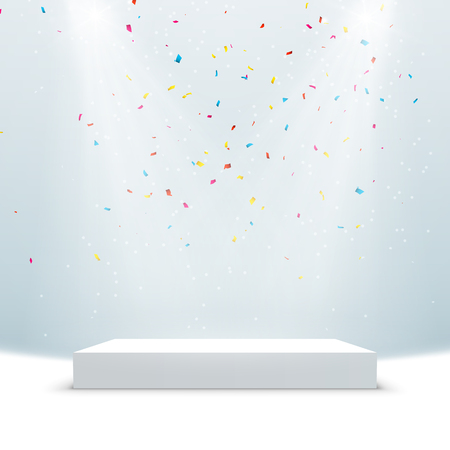 Illuminated podium background. Pedestal stage for presentation or show with confetti. Vector light scene design. Иллюстрация