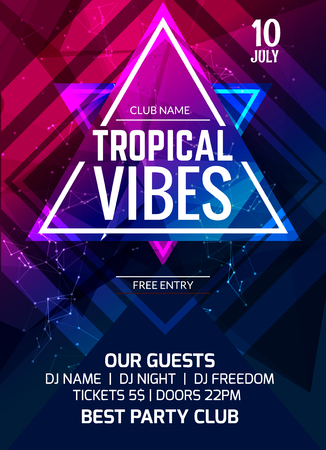 Tropical vibes party flyer poster. Music club flyer design template. DJ advertising, digital creative club intertainment.