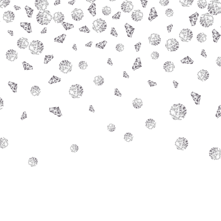 Shiny diamond gems falling isolated. Beautiful luxury jewelry brilliant elegance glowing stones. Ilustração