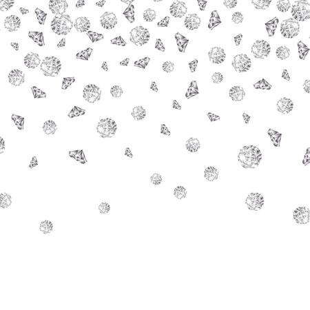 Shiny diamond gems falling isolated. Beautiful luxury jewelry brilliant elegance glowing stones. Illustration