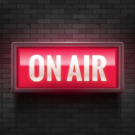 Señal de luz de estudio ON AIR. Señal de advertencia de radiodifusión de medios. Atención al récord de producción de tableros en vivo. Ilustración de vector