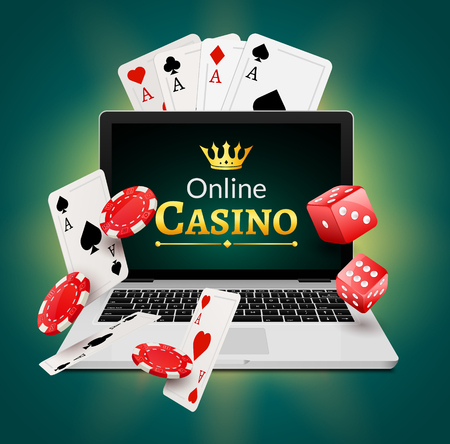 Online casino banner concept with laptop. Poker design or fortune casino gambling. Dice and chips vector illustration.