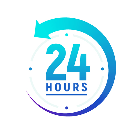 24 hours a day icon. Green clock icon around work. Service time support 24 hour per day. Vectores