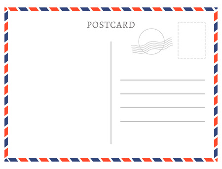 Postcard template paper white texture. Vector postcard empty mail stamp and message design. Çizim