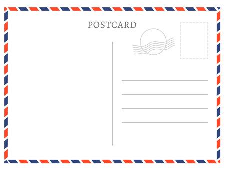 Textura de papel blanco de plantilla de postal. Diseño de mensaje y sello de correo vacío de postal de vector.