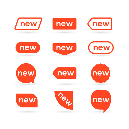 New sticker flat style tag design. New promotion label isolated for advertising. Icon new sign for market.