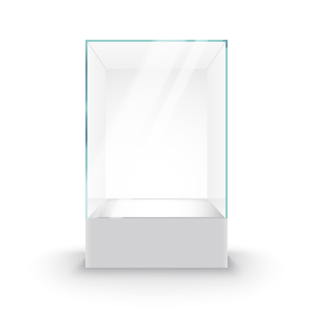 Empty Glass Showcase on pedestal. Museum glass box isolated advertising or business design boutique.