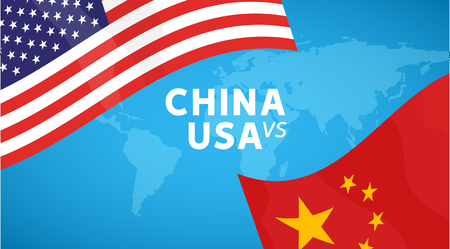 China and USA trade war concept. Business global exchange tariff international economy. Chinese and USA flag illustration.
