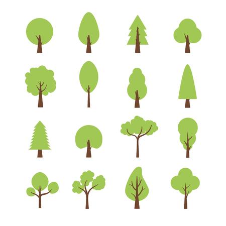 Flat trees set. Flat forest nature plant isolated eco foliage.