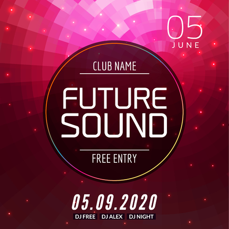 Future sound music party template, dance party flyer, brochure. Party club creative banner or poster for DJ. Illustration