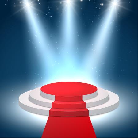 Illuminated podium background. Pedestal stage for presentation or show. Vector light scene design.