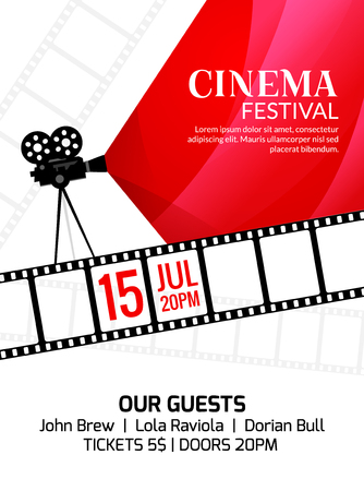 Cinema festival poster template. Vector camcorder and line videotape illustration. Movie festival art background. Vettoriali