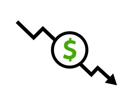 Dollaro di icona di riduzione dei costi. Simbolo della freccia di diminuzione del prezzo. illustrazione del segno di vendita di affari. Vettoriali