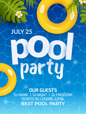 Conception de flyer bannière invitation fête d'été piscine. Matelas gonflable jaune eau et palmier. Affiche de modèle de pool party.