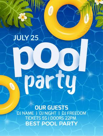 Pool summer party invito banner flyer design. Materassino gonfiabile giallo acqua e palma. Poster modello festa in piscina.