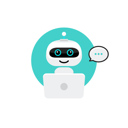 Robot icon. Chat Bot sign for support service concept. Chatbot character flat style. 矢量图像