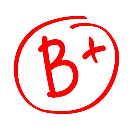 Noter le résultat B plus. Vecteur dessiné à la main de grade B plus dans un cercle rouge. Rapport de note d'examen de test.