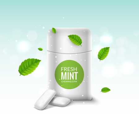 Vector chewing gum package box and green mint for fresh breath. Dental health chewing gum background.