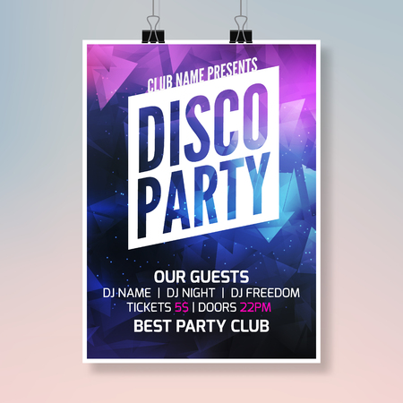 Disco sound music party template, dance party flyer, brochure. Party club creative banner or poster for DJ.
