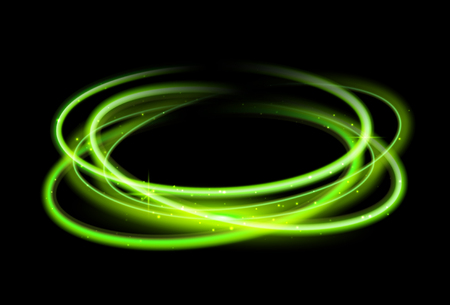 Green circle light effect background. Swirl glow magic line trail. Light effect motion. 向量圖像