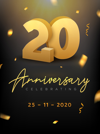 20 Years Anniversary Celebration event. Golden Vector birthday or wedding party congratulation anniversary 20th