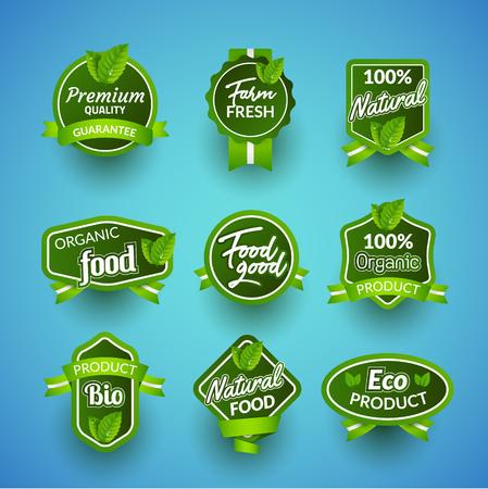 Organic health food badge seal design. Natural organic food sticker set. Farm product market signs in vector. Vecteurs