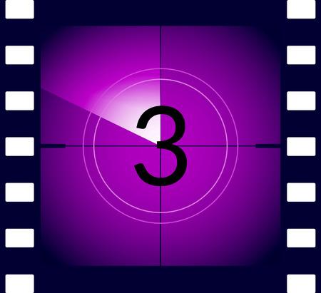 Old film movie countdown frame. Old vintage retro cinema vector timer count.