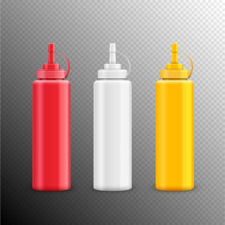 Vector condiment ketchup mayonnaise mustard isolated. Food taste ingredient. Bottle or container red, white and yellow. Standard-Bild - 110682701