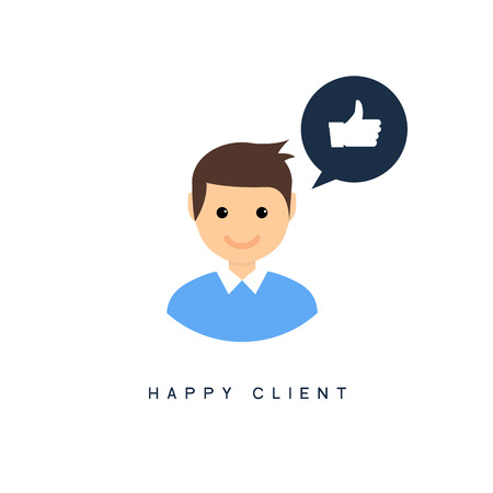 Happy client customer business icon. Feedback client positive sign smile symbol. Illustration