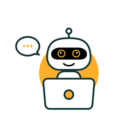 Robot icon. Chat Bot sign for support service concept. Chatbot character flat style. Vettoriali